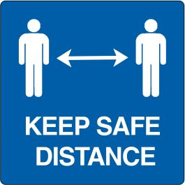 "Bodenpiktogramm für ""keep safe distance"""