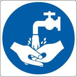 """Bodenpiktogramm für """"Handwäsche benutzen"""""""