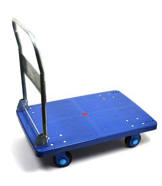 Plattformwagen aus Kunststoff mit klappbarem Schiebebügel, Tragkraft 300 kg